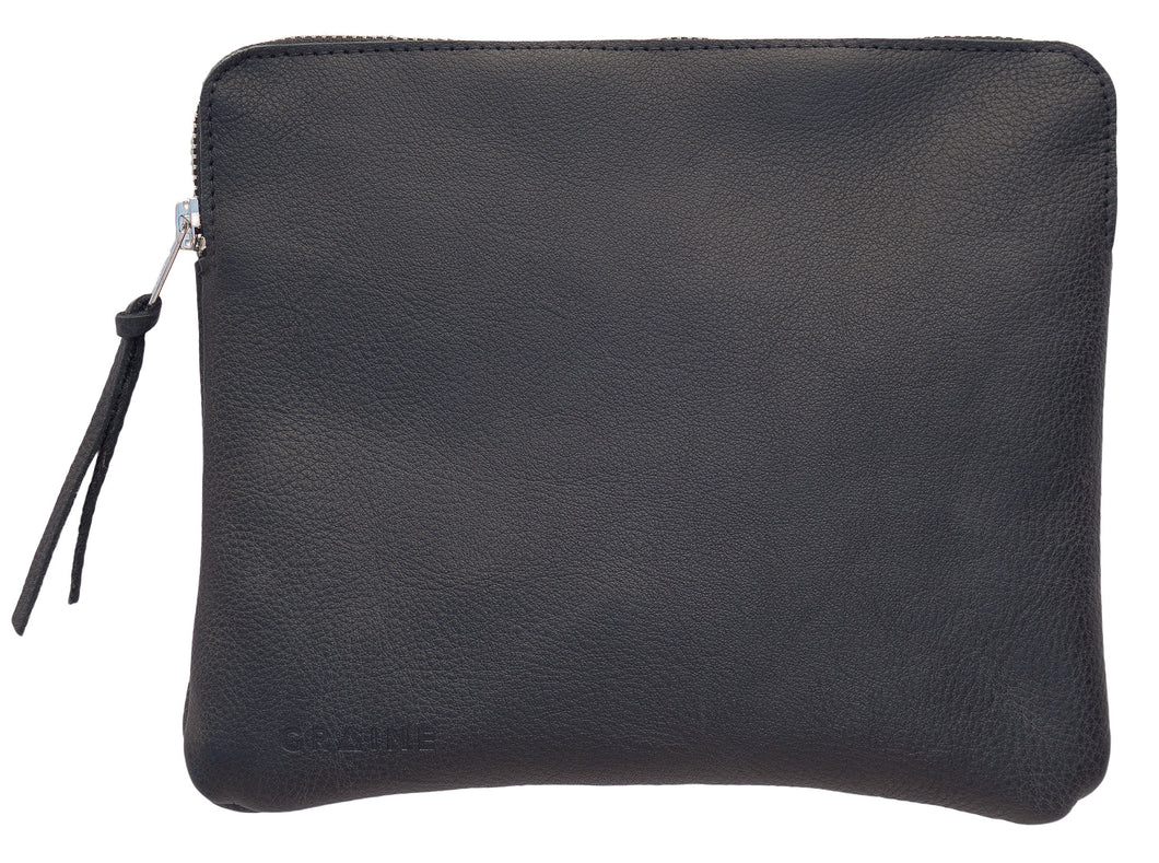 Australian made black leather clutch bag - front