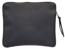 Australian made black leather clutch bag - back