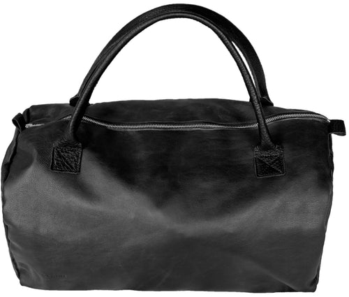 Australian made black leather duffel bag
