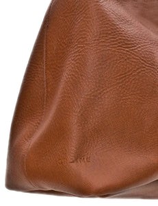 Australian made tan leather bag - logo