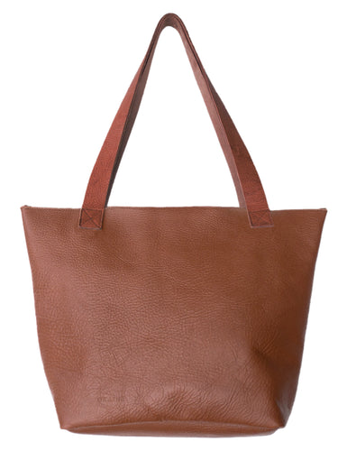 Australian made tan leather zip bag - front