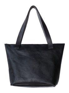 Australian made black leather zip bag