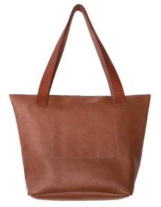 Australian made tan leather zip bag - back