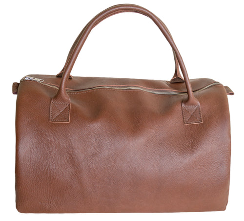 Australian made tan leather duffel bag