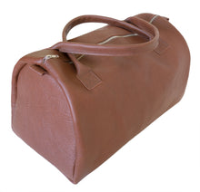 Australian made tan leather duffel bag - side