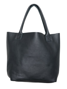 Australian made black leather bag - front