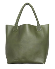 Australian made olive leather bag - front