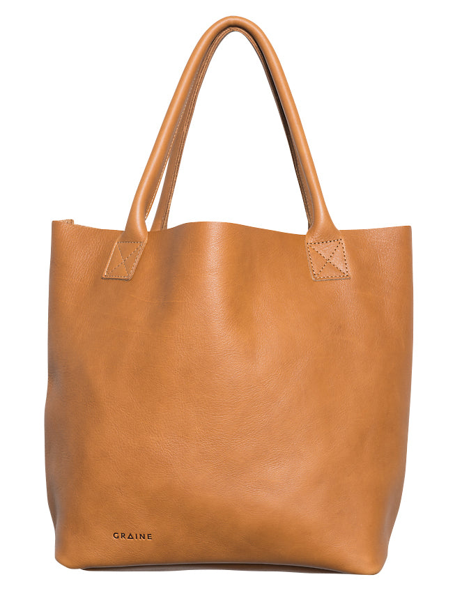 Australian made tan leather bag - front