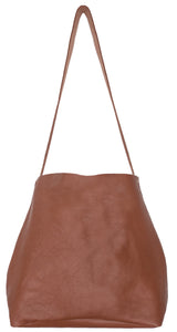 Australian made tan leather cross-body bag - front
