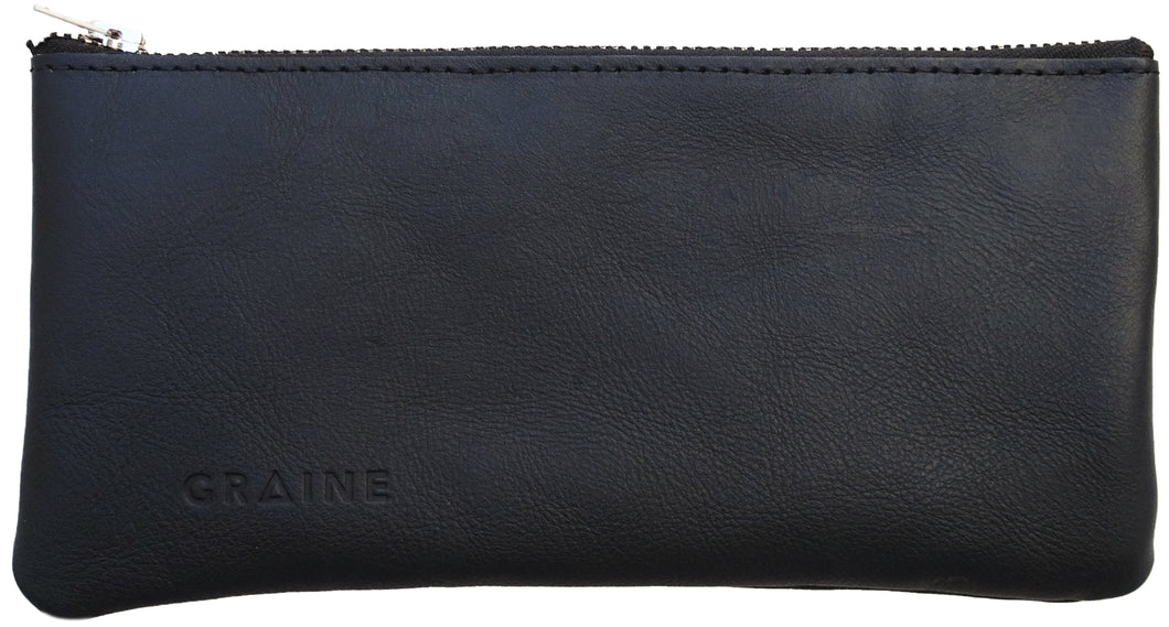Australian made navy leather wallet - front