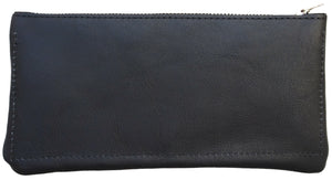 Australian made navy leather wallet - back