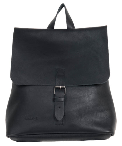 Australian made black leather backpack - front