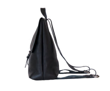 Australian made black leather backpack - side