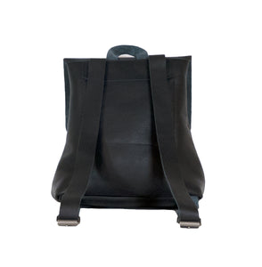 Australian made black leather backpack - back
