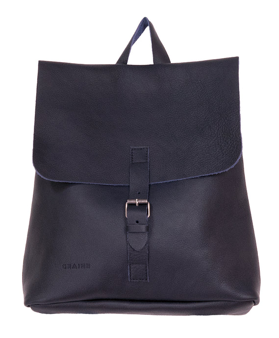 Australian made navy leather backpack - front
