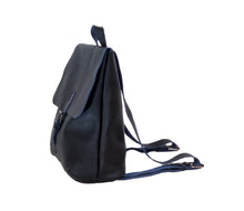 Australian made navy leather backpack - side