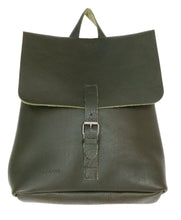 Australian made olive leather backpack - front