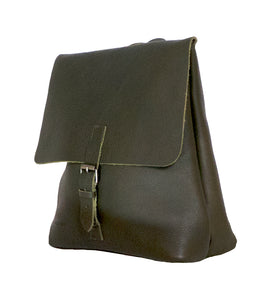 Australian made olive leather backpack - side