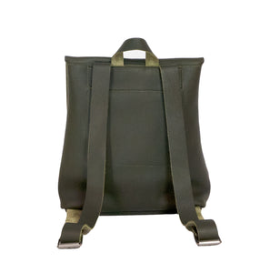Australian made olive leather backpack - back
