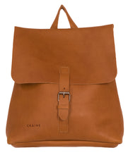 Australian made tan leather backpack - front