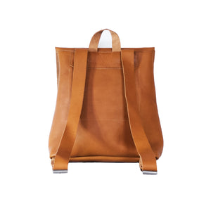 Australian made tan leather backpack - back