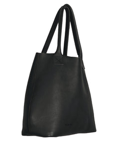 Australian made black leather bag - side