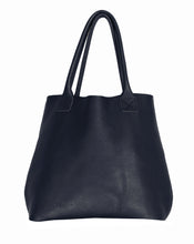 Australian made navy leather bag - front