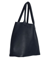 Australian made navy leather bag - side