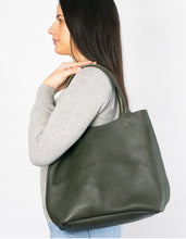 Australian made olive leather bag - side
