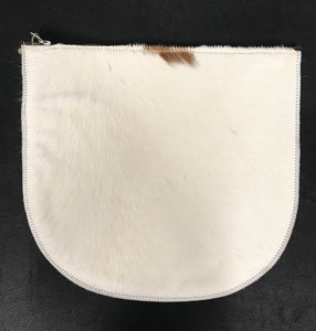 RAGS TO RICHMOND CLUTCH IN TAN & NATURAL COW HIDE (SAMPLE)