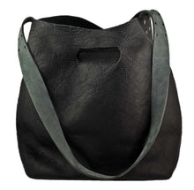 Australian made black leather cross-body bag - front