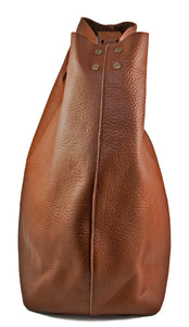 Australian made tan leather cross-body bag - side