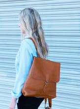 Australian made tan leather backpack - side