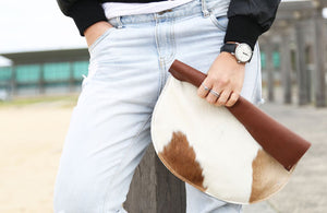 RAGS TO RICHMOND CLUTCH IN TAN & NATURAL COW HIDE