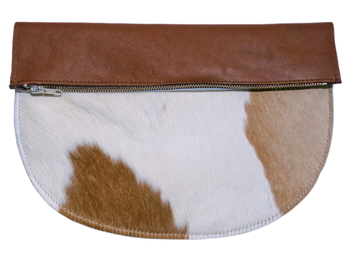 RAGS TO RICHMOND CLUTCH IN TAN & NATURAL COW HIDE (SECOND)