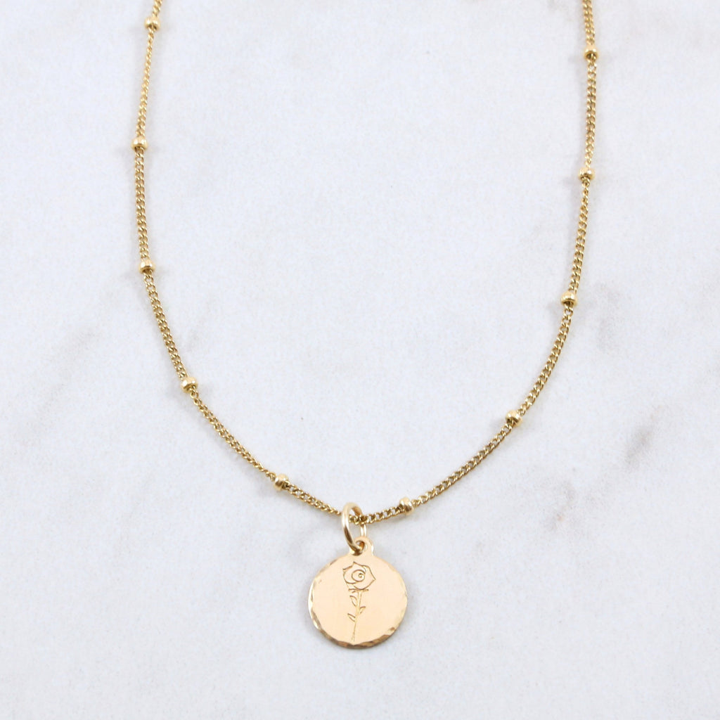 Sweet Rose Coin Necklace