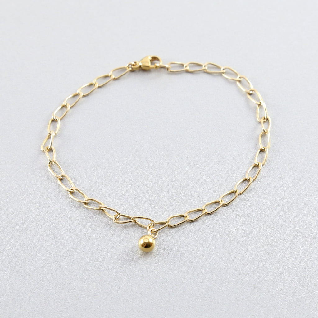 Slanted Chain Ball Drop Bracelet