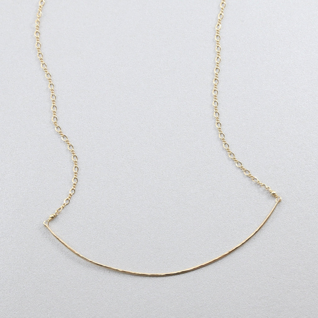Hammered Collarbone Curved Bar Necklace
