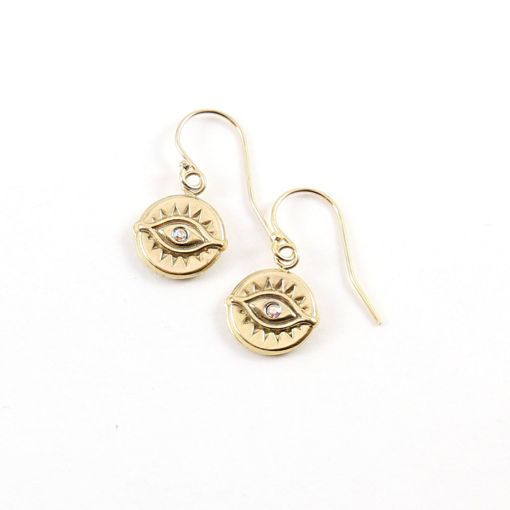 Etched Evil Eye Protector Earrings