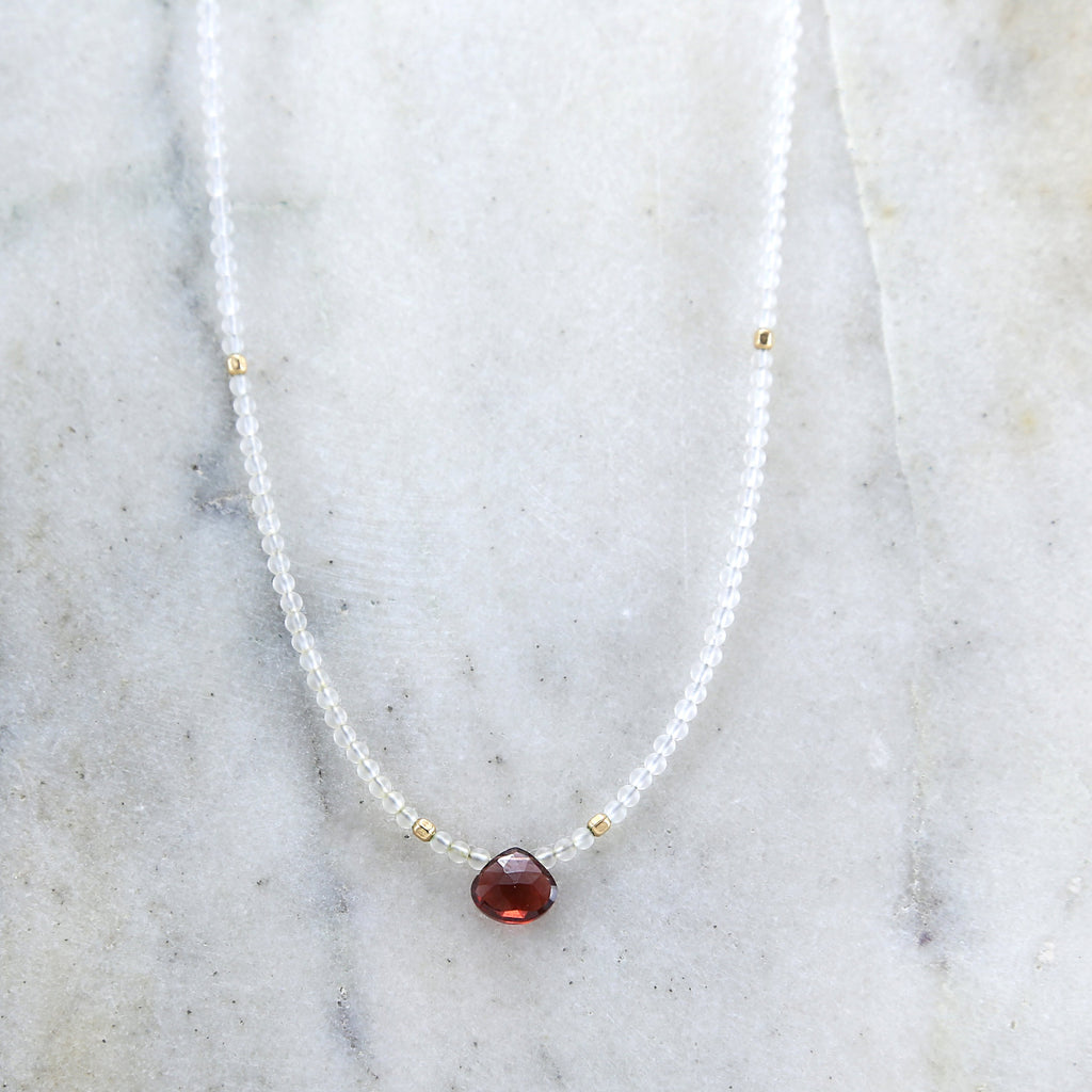 Garnet and Frosted Clear Quartz Choker Necklace