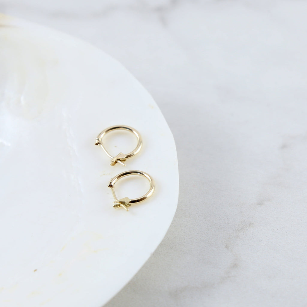 Solid 14K Gold Latch Back Hoop Earrings