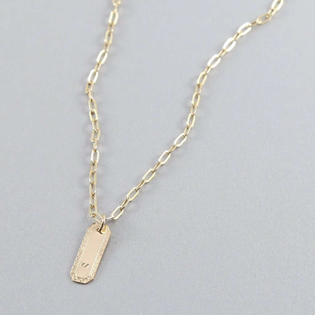 Personalized Etched Rectangle Tag Necklace
