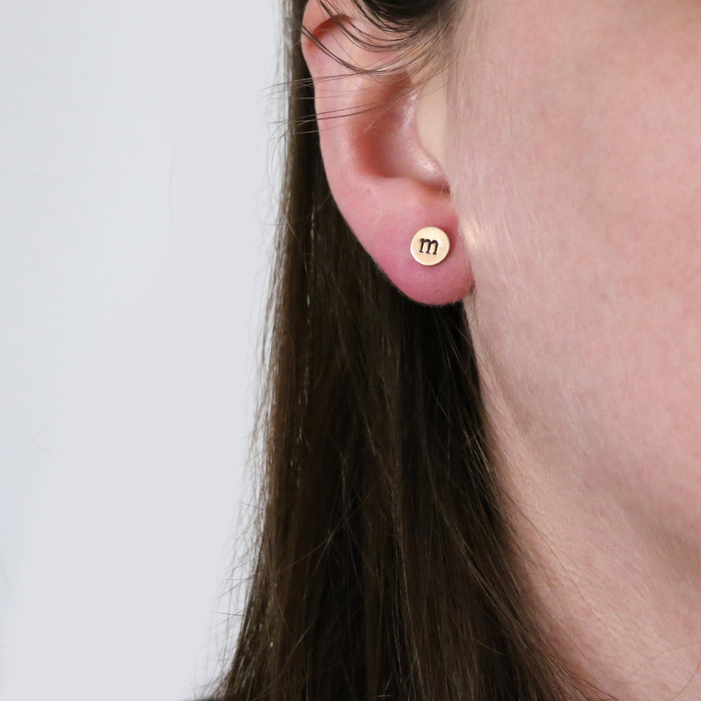 Simple Initial Circle Stud Post Earrings