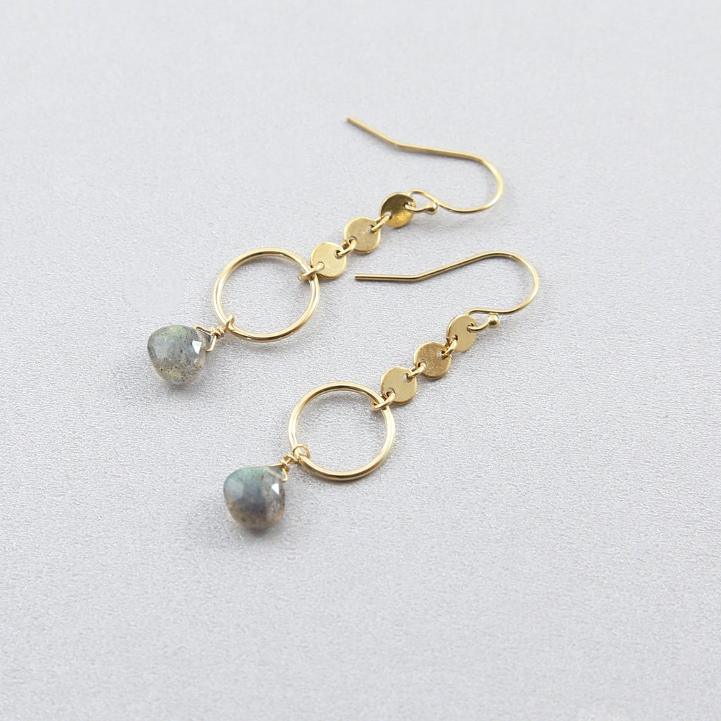 Sontee Labradorite Teardrop Circle Dangle Earrings