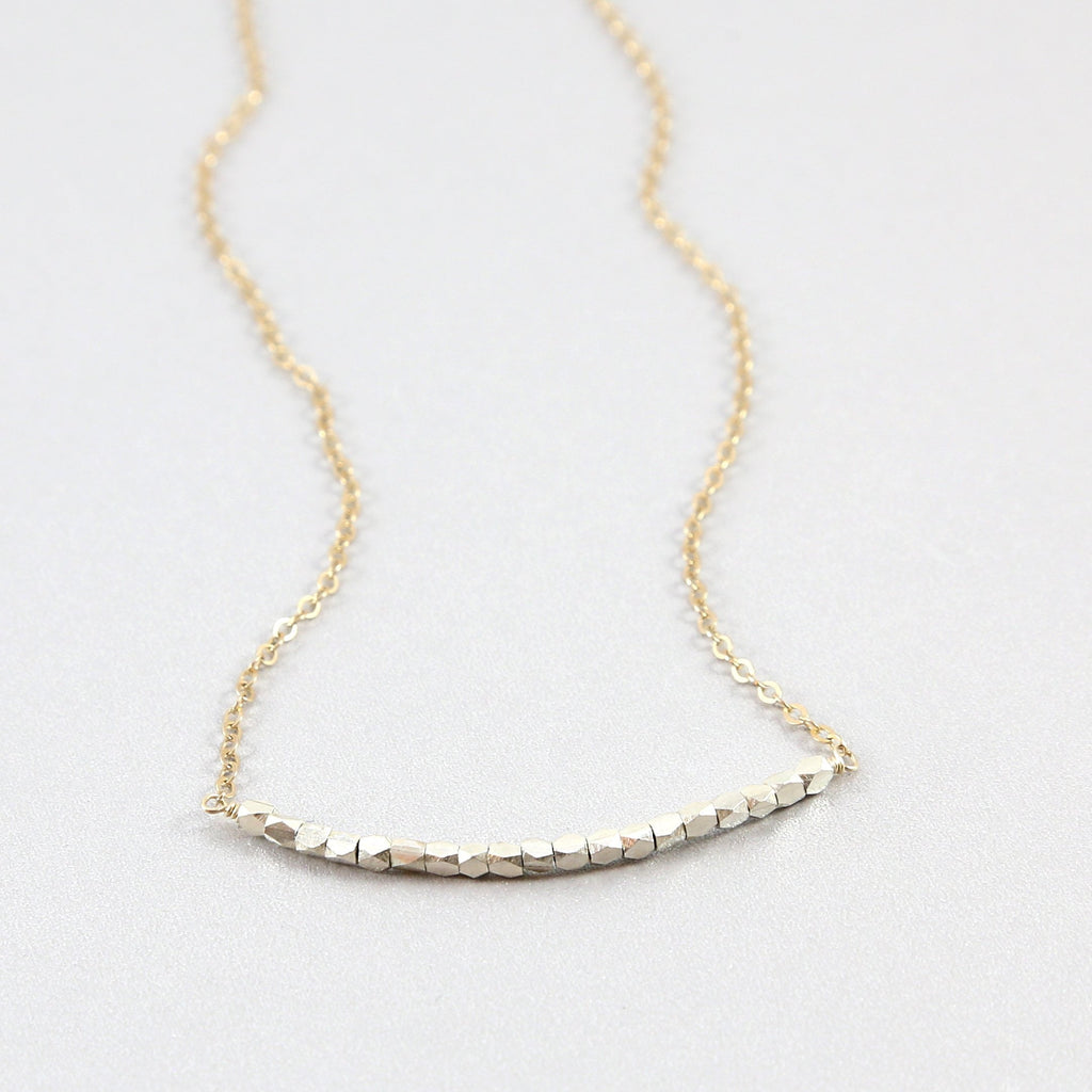 Silver and Gold Nugget Necklace