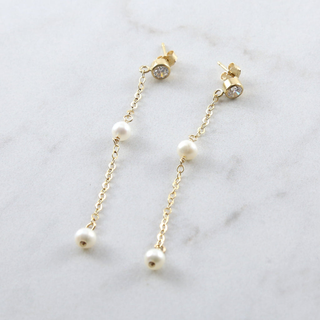 Evie Pearl Dangle CZ Pearl Stud Earrings