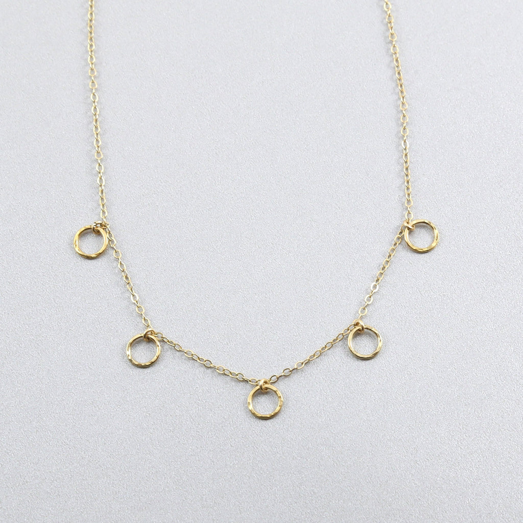 Natalia 5 Hammered Ring Necklace