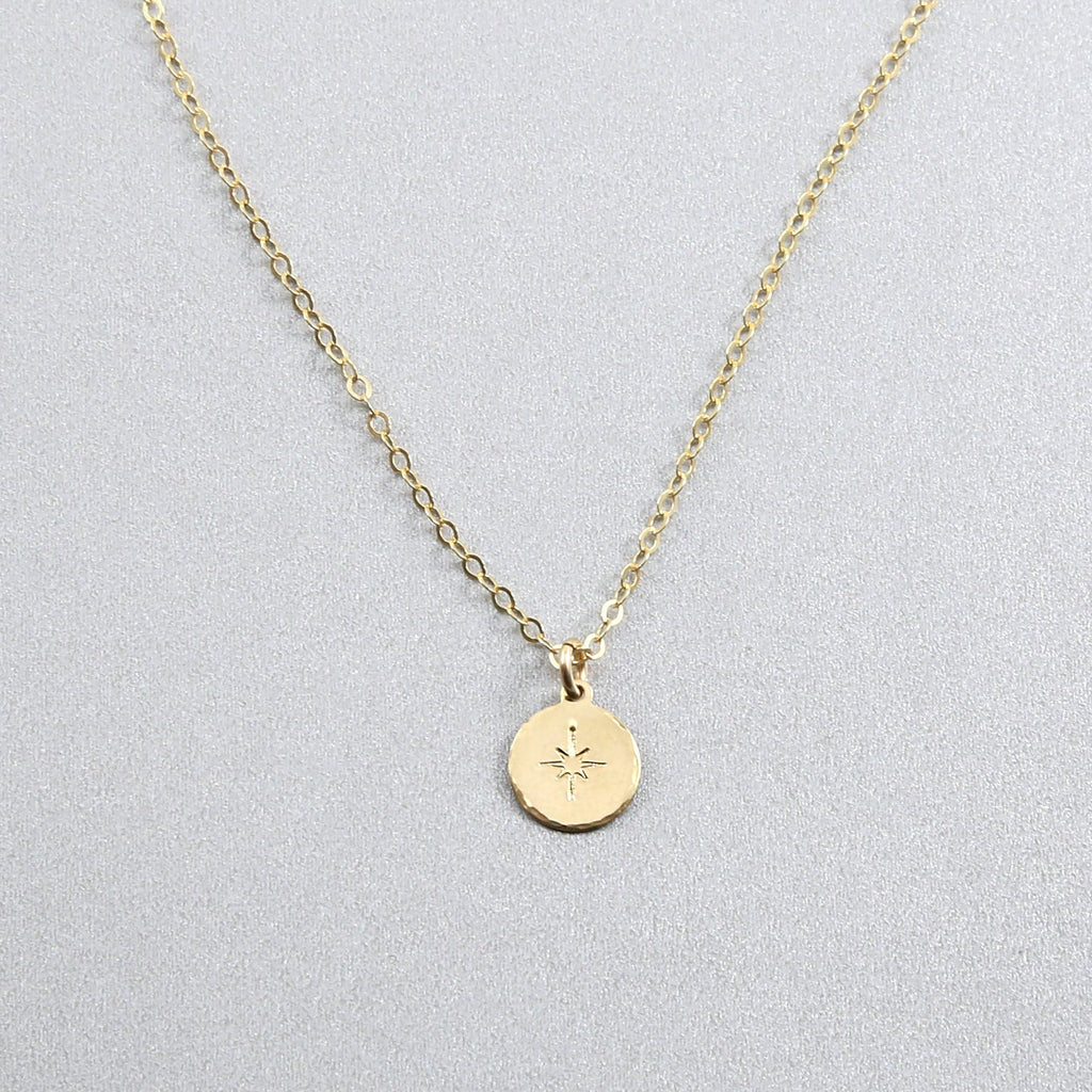 Stamped North Star Coin Necklace
