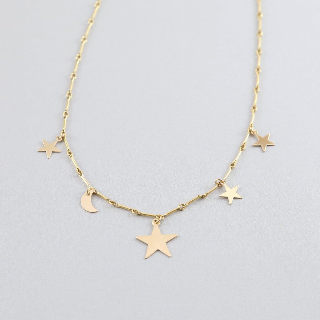 Celestial Cluster Star and Moon Choker