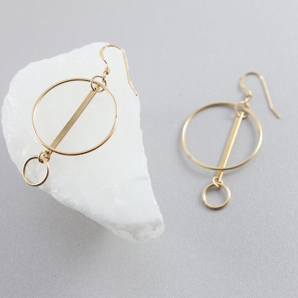 Harlow Statement Bar Circle Earrings
